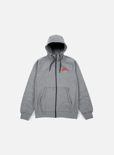 felpe nike air hybrid full zip hoodie carbon heather bright crimson
