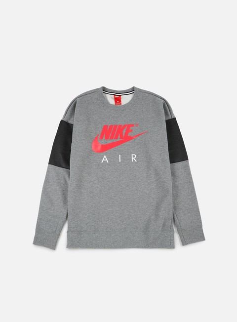 felpe nike air ls crewneck carbon heather anthracite