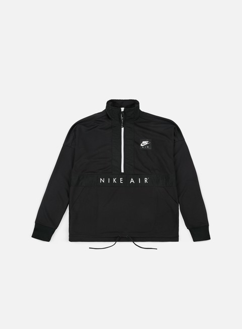 felpe nike air ls half zip top black white