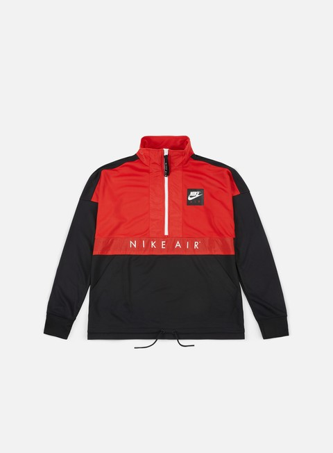 felpe nike air ls half zip top university red white black