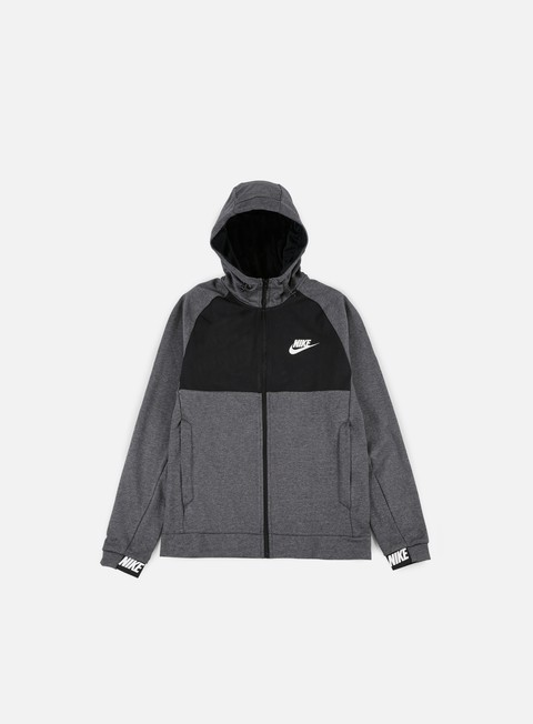 felpe nike av15 full zip hoodie charcoal heather white