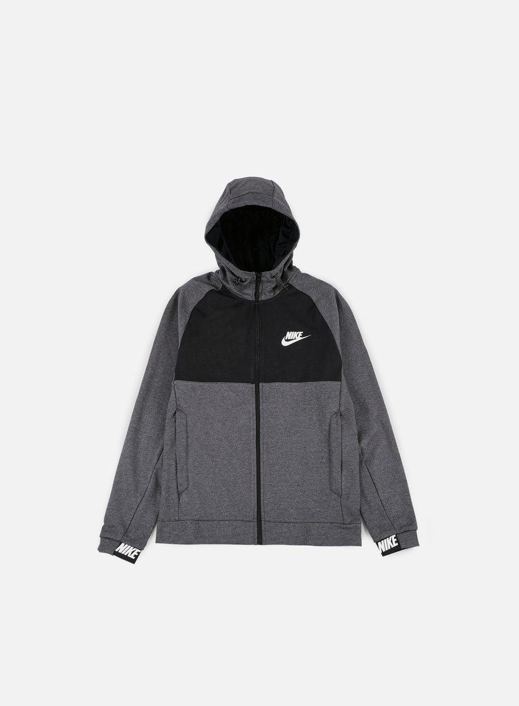 Nike - AV15 Full Zip Hoodie, Charcoal Heather/White