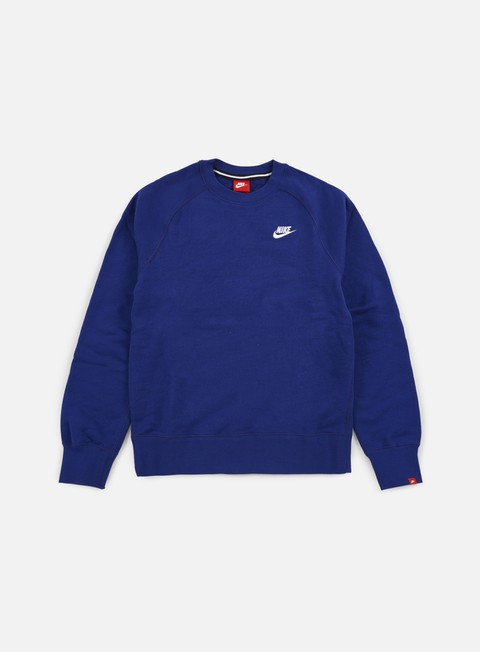 felpe nike aw77 french terry crewneck deep royal blue white