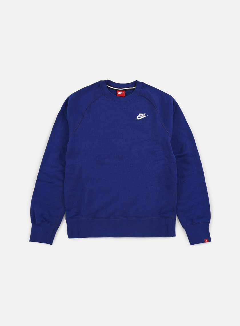 Nike - AW77 French Terry Crewneck, Deep Royal Blue/White