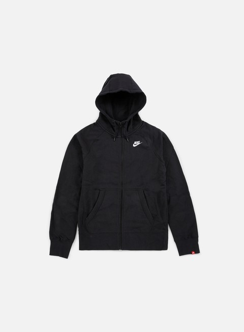 felpe nike aw77 full zip hoody black white