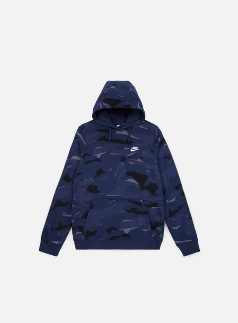 felpe nike club camo hoodie midnight navy white