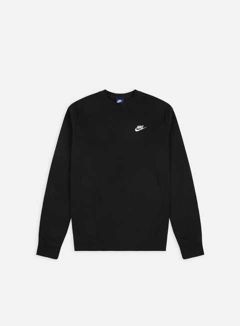 felpe nike club crewneck black white