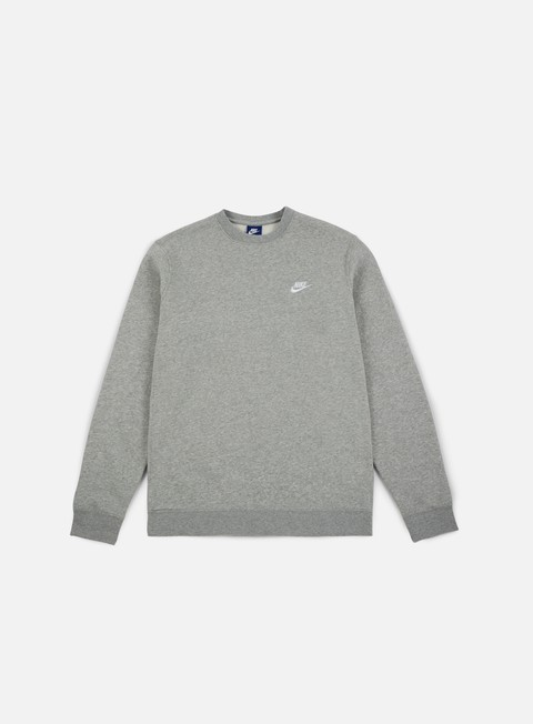 felpe nike club crewneck grey heather white