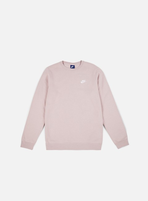 felpe nike club crewneck particle rose white
