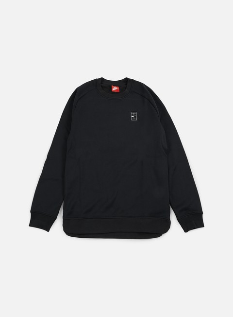 felpe nike court crewneck black black white