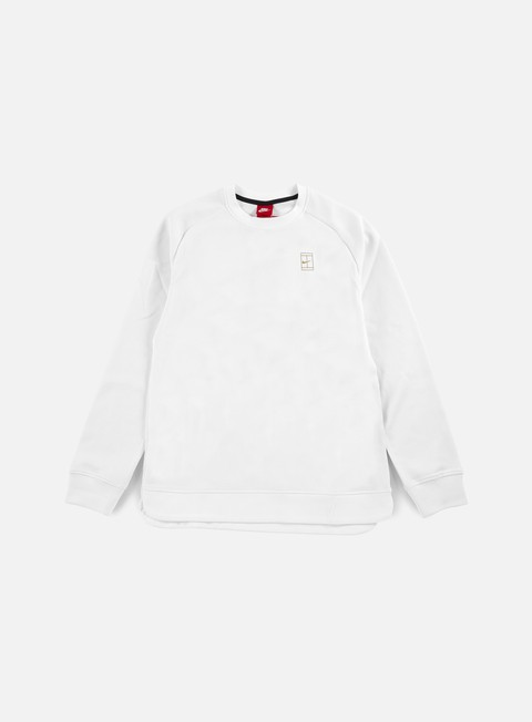 felpe nike court crewneck white metallic gold white
