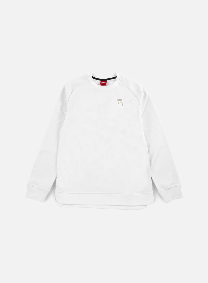 Nike - Court Crewneck, White/Metallic Gold/White