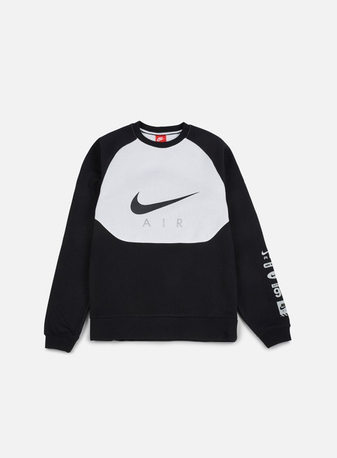 felpe nike hybrid fleece air crewneck black black