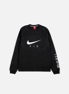 Nike - Hybrid Fleece Air Crewneck, Black/White