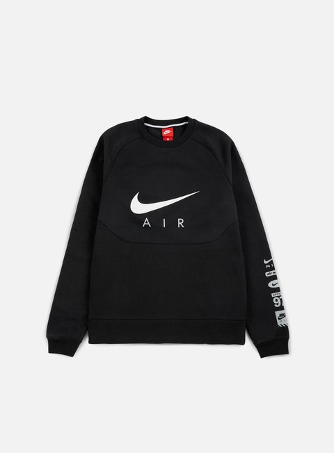 felpe nike hybrid fleece air crewneck black white