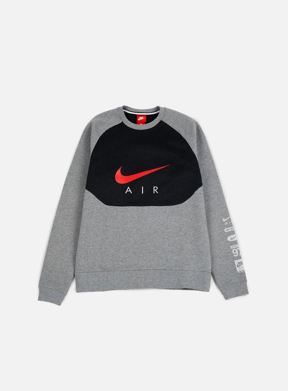 Nike - Hybrid Fleece Air Crewneck, Carbon Heather/Gym Red