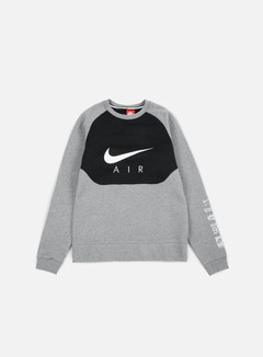 Nike - Hybrid Fleece Air Crewneck, Carbon Heather/White 1