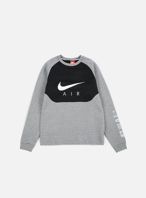 felpe nike hybrid fleece air crewneck carbon heather white