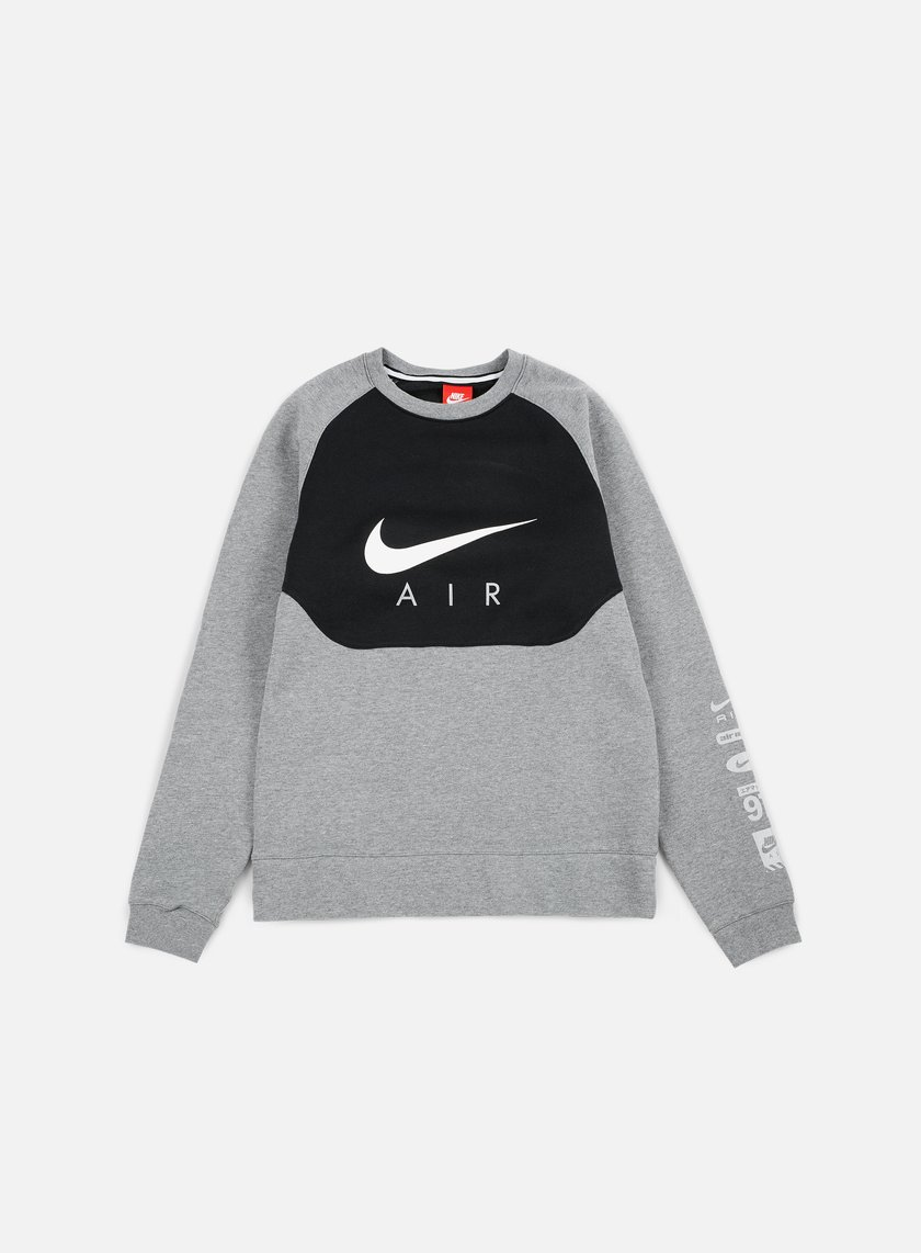 Nike - Hybrid Fleece Air Crewneck, Carbon Heather/White