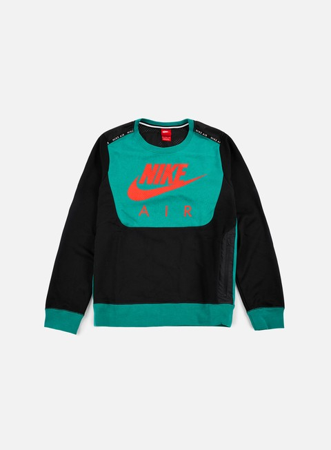 felpe nike hybrid fleece air crewneck rio teal bright crimson
