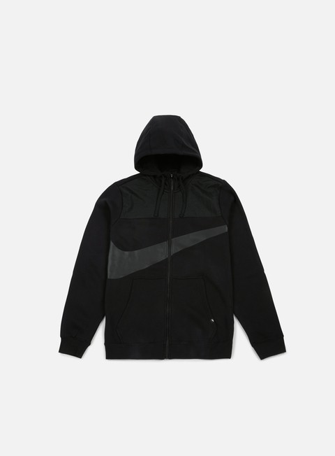 felpe nike hybrid fleece full zip hoodie black black