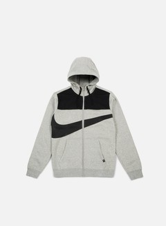 Nike - Hybrid Fleece Full Zip Hoodie, Dark Grey Heather/Black 1