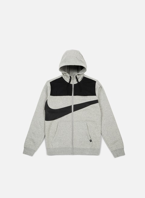 felpe nike hybrid fleece full zip hoodie dark grey heather black