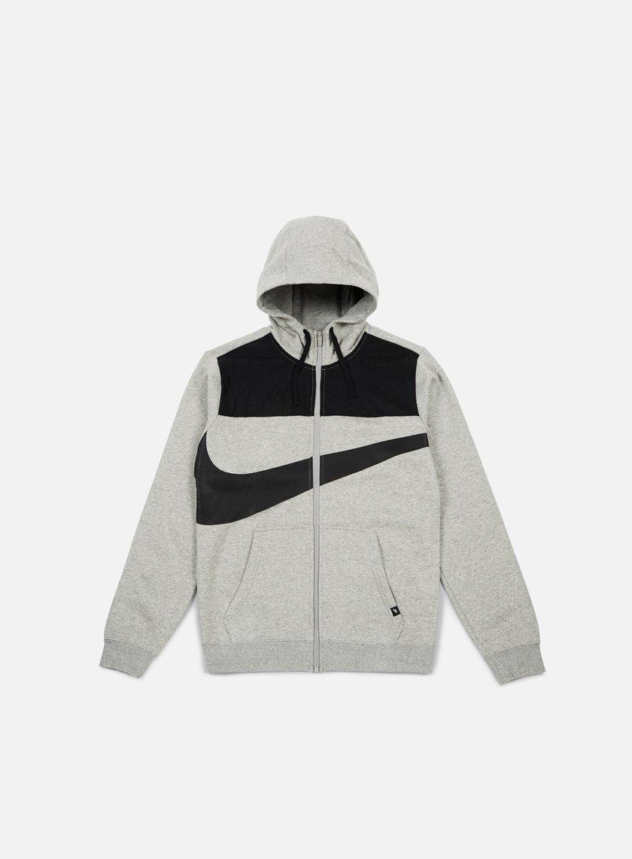 Nike - Hybrid Fleece Full Zip Hoodie, Dark Grey Heather/Black