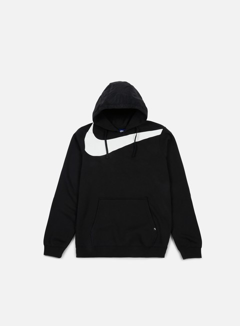 felpe nike hybrid fleece hoodie black white