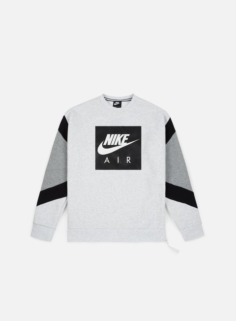 felpe nike nsw air crewneck birch heather black grey heather