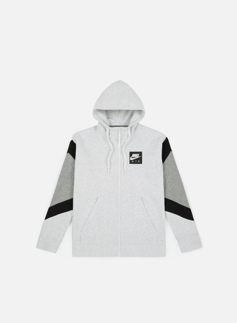 felpe nike nsw air hoodie birch heather black