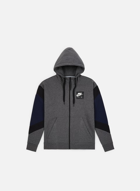 felpe nike nsw air hoodie charcoal heather black obsidian