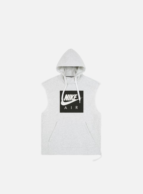 felpe nike nsw air sleeveless hoodie birch heather white