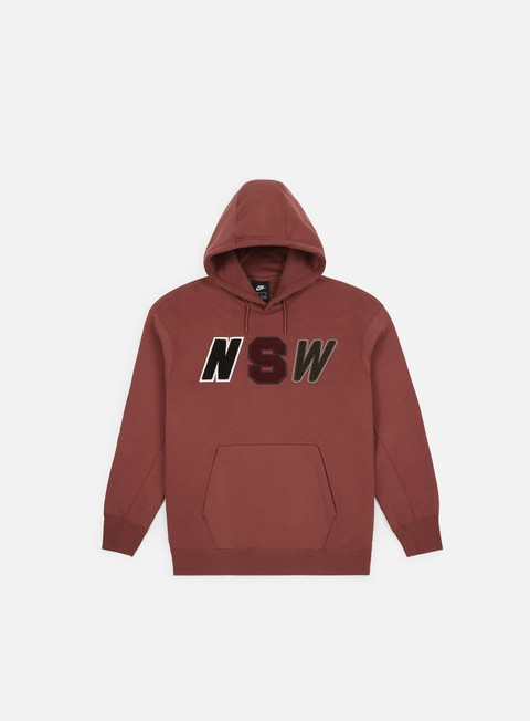 felpe nike nsw fleece hoodie red sepia