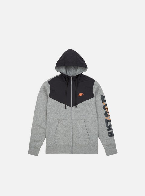 felpe nike nsw hbr fleece full zip hoodie dark grey heather anthracite cone