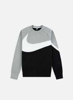 Nike - NSW HBR FT STMT Crewneck, Black/White/Dark Grey Heather/Black