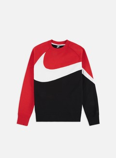 Nike - NSW HBR FT STMT Crewneck, Black/White/University Red/Black