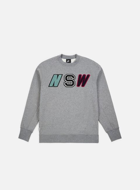 felpe nike nsw ls fleece crewneck carbon heather
