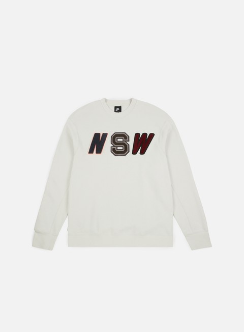 felpe nike nsw ls fleece crewneck light bone