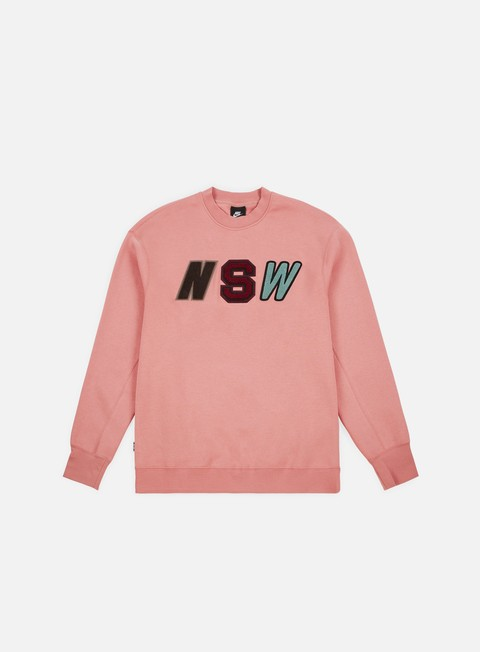 felpe nike nsw ls fleece crewneck rust pink