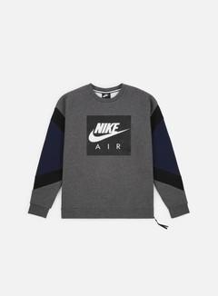 Nike - NSW Nike Air Fleece Crewneck, Charcoal Heather/Black/Obsidian