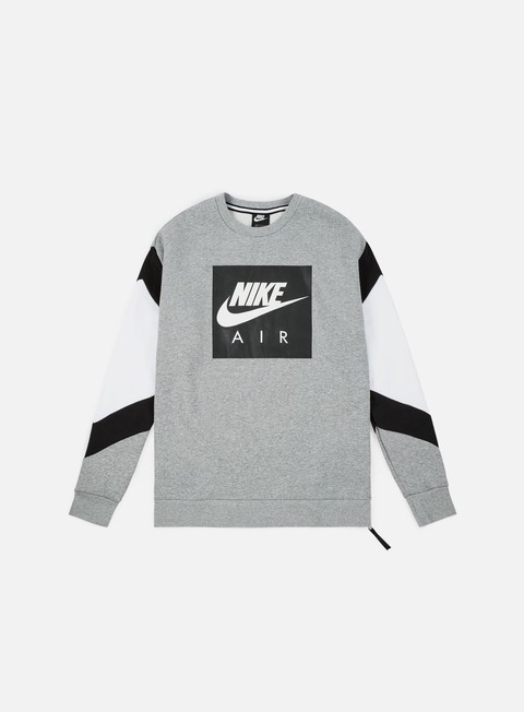 felpe nike nsw nike air fleece crewneck dark grey heather black