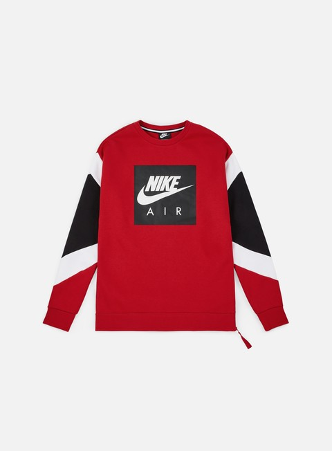 felpe nike nsw nike air fleece crewneck gym red white