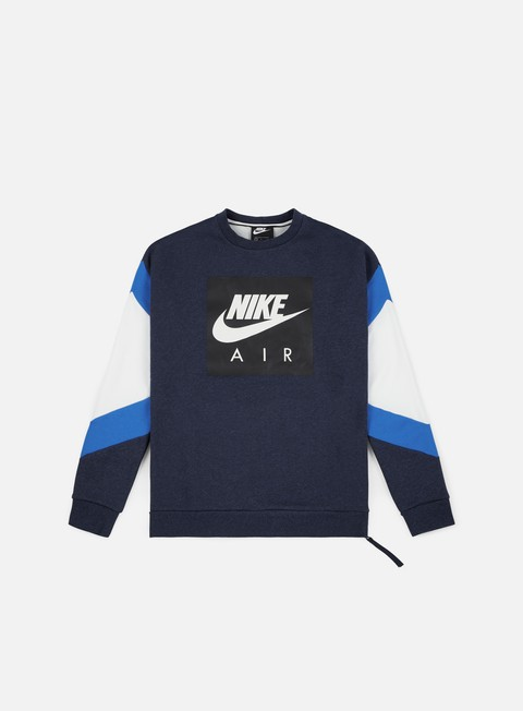 felpe nike nsw nike air fleece crewneck obsidian heather signal blue