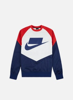 Nike - NSW NSP Woven Crewneck, Blue Void/University Red/Sail
