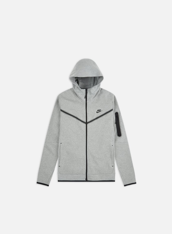 Nike Nsw Tech Fleece Fz Hoodie Men Dk Grey Heather Black Graffitishop