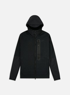 Nike - NSW Tech Fleece Woven Mix Full Zip Hoodie, Black/Black/Black