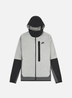 Nike - NSW Tech Fleece Woven Mix Full Zip Hoodie, Dark Grey Heather/Iron Grey/Black