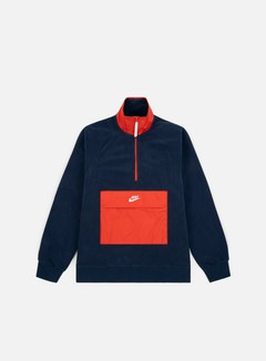 Nike - NSW Top HZ Core Winter Sweater, Obsidian/Habanero Red/Sail