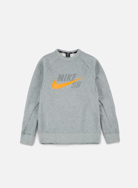 felpe nike sb gfx icon crewneck dark grey heather circuit orange